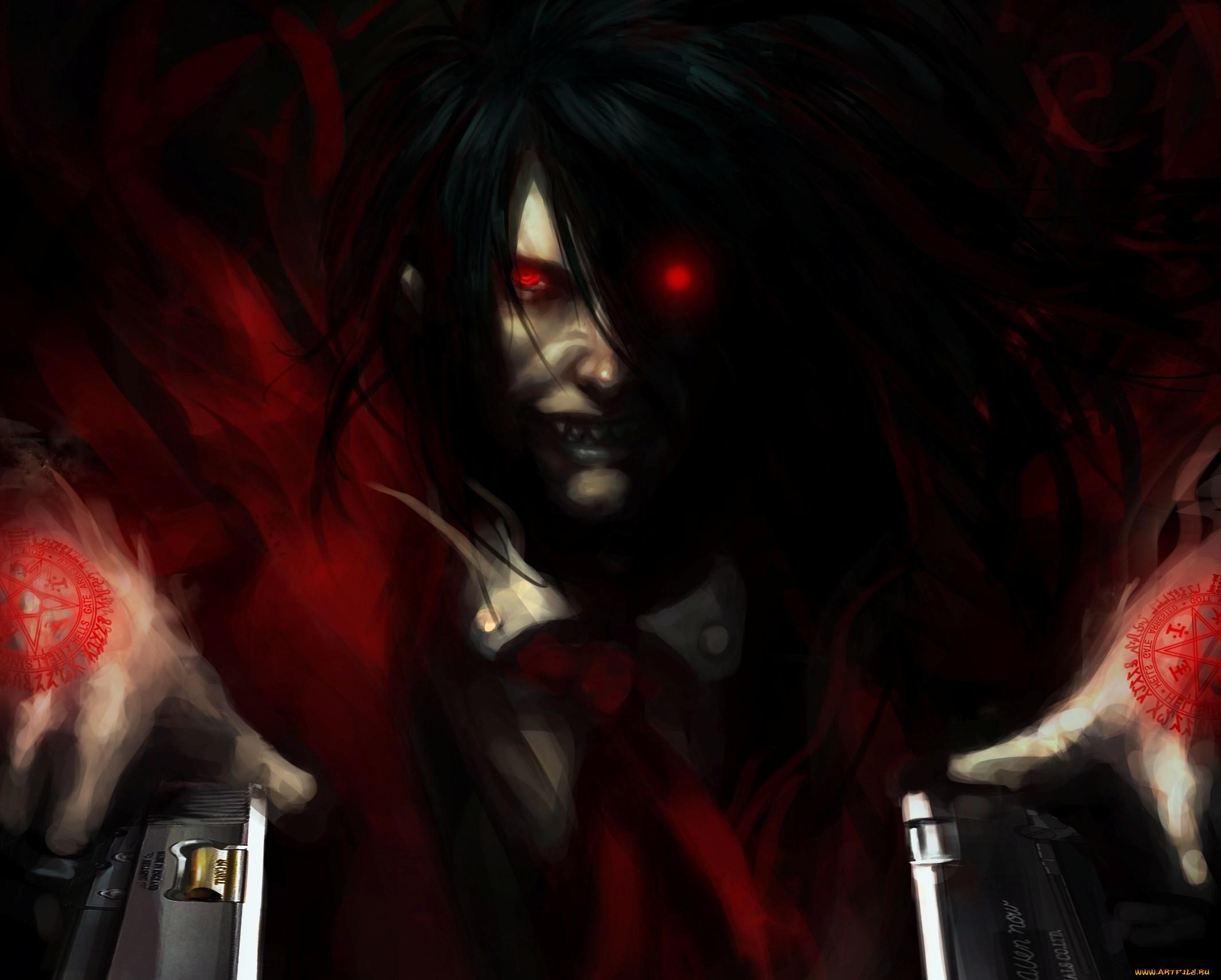 аниме, hellsing, vampire, вампир, парень, арт, leopinheiro, пентаграммы, пистолеты, зубы, alucard, красные, глаза